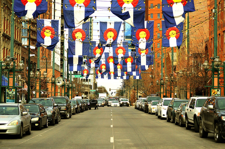 Colorado street with state banners