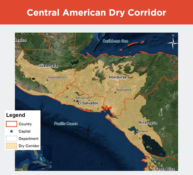 Central American dry corridor map