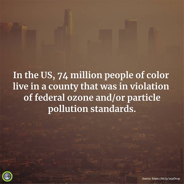 In the US, 74 million people live in a county that was in violation of federal ozone and/or particle pollution standards