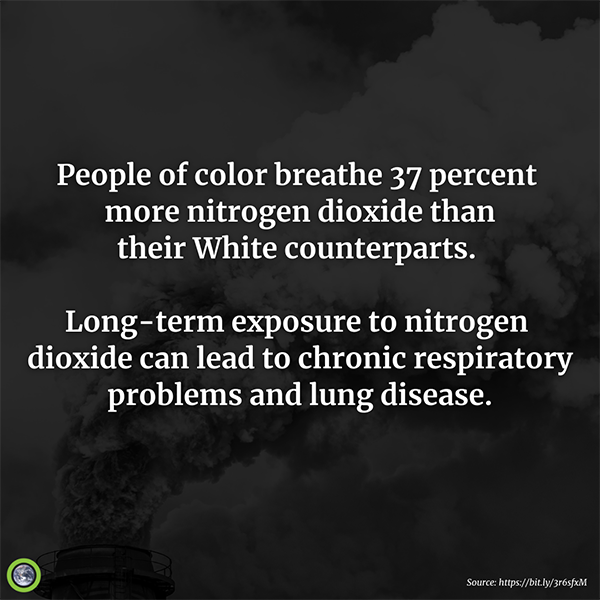 people of colors breathe 37% more nitrogen dioxide than their white counterparts